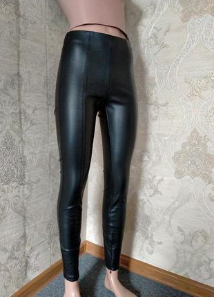 Лосины брюки кожзам экокожа высокая талия посадка зара