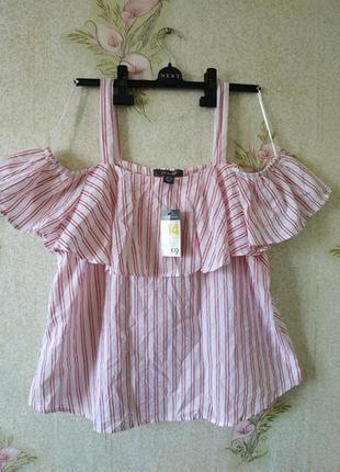 Новая женская блузка из натуральной ткани с открытыми плечами primark