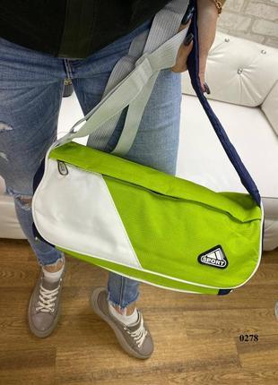 Салатовая спортивная сумка с непромокаемой плащевки в виде цилиндра