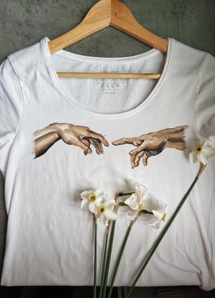 Сотворение адама. ручная роспись базовая белая футболка