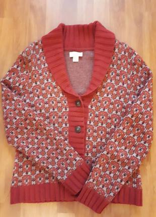 Свитер теплый шерсть  шерстяной кофта кардиган, на пуговицах с узором винтаж теплая
