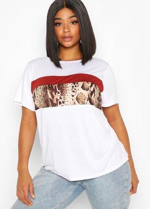 Белая футболка леопардовый принт boohoo / біла футболка леопардовий принт boohoo