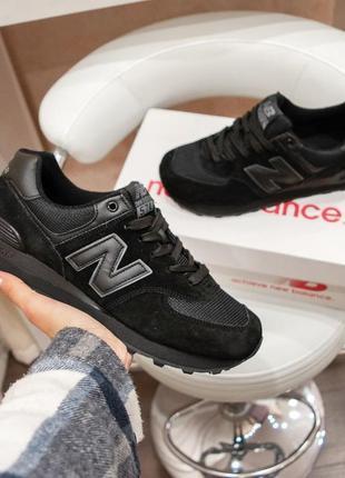 Черные кроссовки new balance 574 женские,летние,замша и сетка