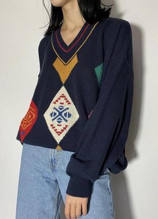 Винтажный оверсайз трендовый свитер абстрактный рисунок