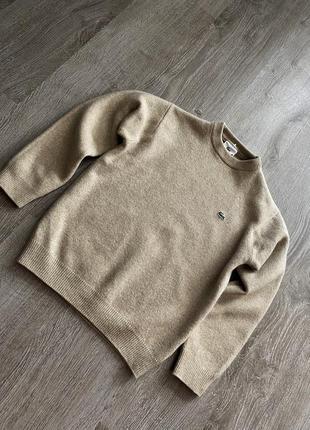 Кофейный бежевый свитер джемпер кофта чистая шерсть от lacoste