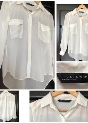 Воздушная light ivory блуза блузка zara xs/4/32-s/6/34