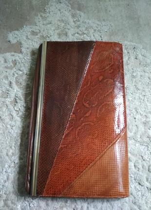 Винтажный женский клатч натуральная кожа змея, питона