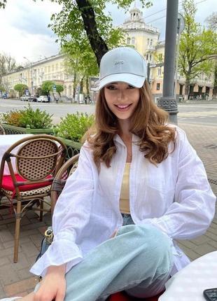 Льняная рубашка оверсайз белая
