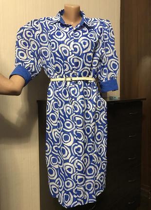 Шикарное платье миди  синиее с объёмными рукавами ретро винтаж