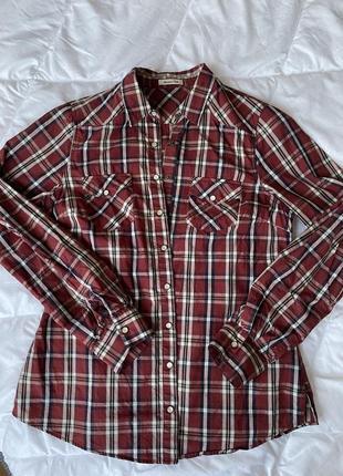Рубашка сорочка в клітинку massimo dutti s3 фото