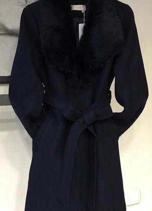 Пальто с мехом из натур кролика!