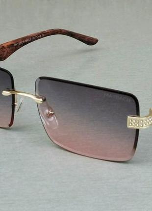 Maybach очки унисекс солнцезащитные серо розовый градиент дужки дерево