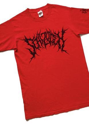 Красная футболка, мерч schizogen, рок атрибутика, принт