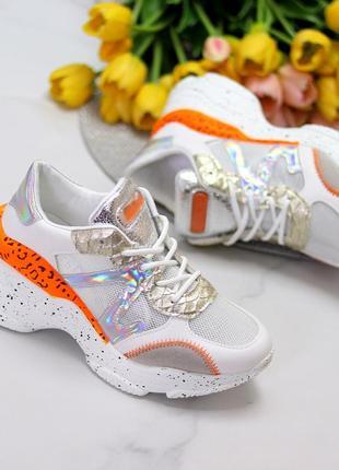 Кроссовки белый оранжевый4 фото