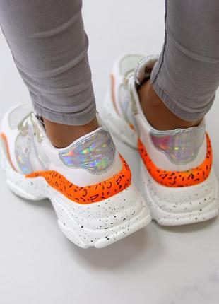 Кроссовки белый оранжевый6 фото