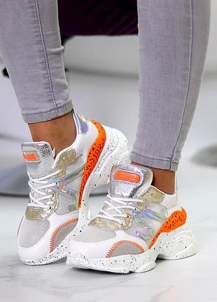 Кроссовки белый оранжевый2 фото