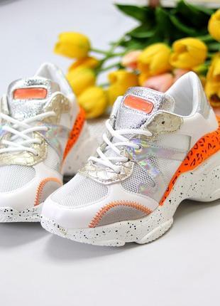 Кроссовки белый оранжевый5 фото