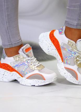 Кроссовки белый оранжевый9 фото