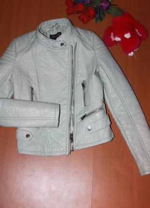 Крутая мятного цвета куртка bershka кожзам