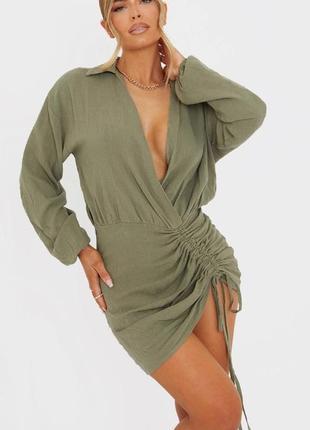 Сукня сорочка кольору хакі prettylittlething