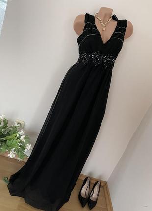 Чёрное платье в пол платье макси