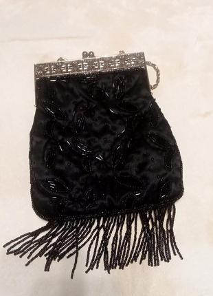 Черная винтажная сумочка, клатч с бисером на короткой цепочке