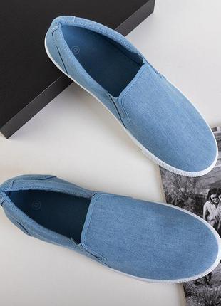 Блакитні чоловічі джинсові сліпони orian