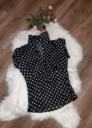 Шикарная атласная блуза в актуальный горох