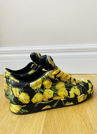 Кеды /кроссовки чёрные с тюльпанами, размер 36