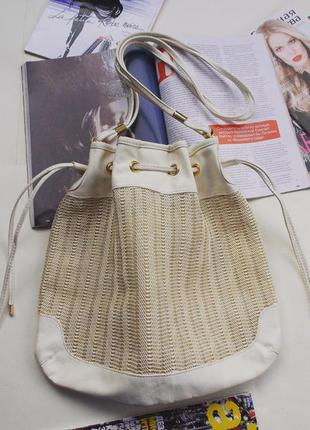 Классная красивая белая сумка мешок h&m