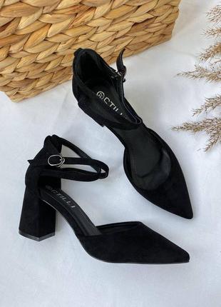 Женские замшевые туфли/босоножки с острым носом на среднем каблуке/экозамш.