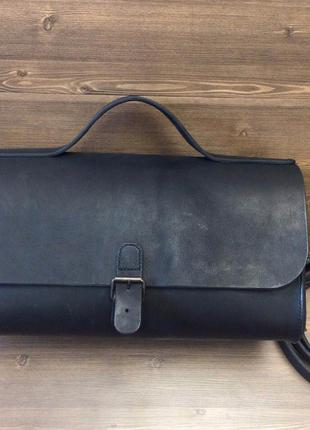 Кожаная чёрная сумка-чемодан ручной работы, крутая индивидуальная модель