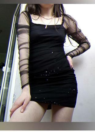 Платье с прозрачными  рукавами
