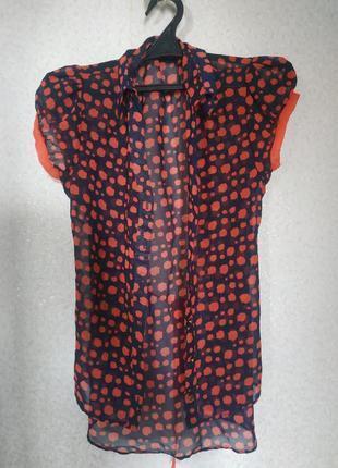 Блузка из шифона с коротким рукавом