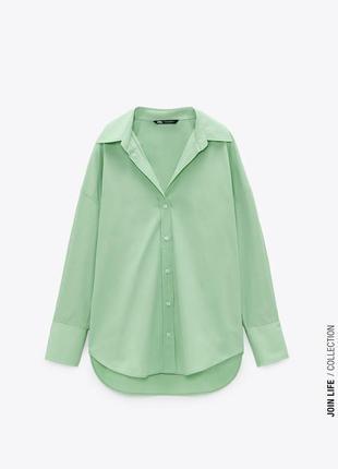 Яркая зелёная рубашка zara в наличии есть размеры