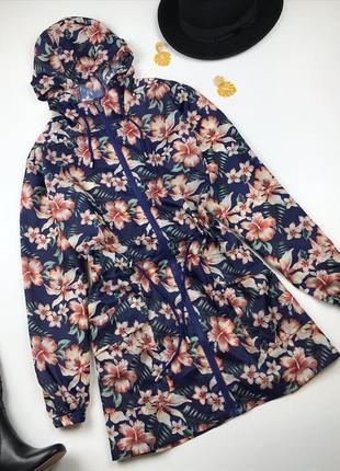 Вітровка-парка/ дощовик в квітковий принт