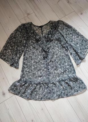 Шифоновое полупрозрачное платье туника с рюшами оборками  next