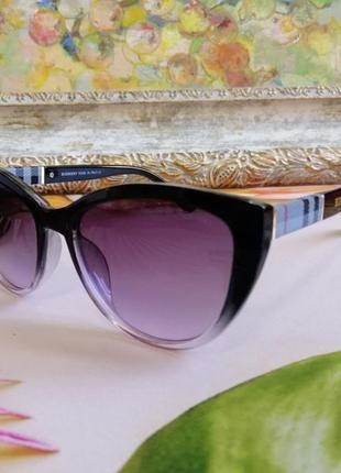 Эксклюзивные брендовые чёрные солнцезащитные женские очки лисички оправа с градиентом