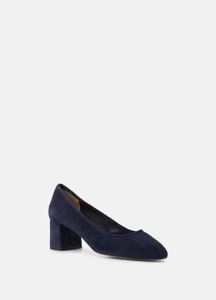 Туфли на каблуку замшевые натуральные синие