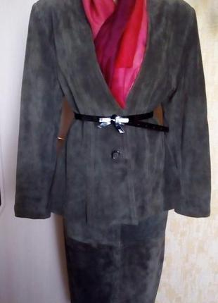 Отличный костюм 100 % замша /юбка/жакет/куртка/платье/замшевый костюм