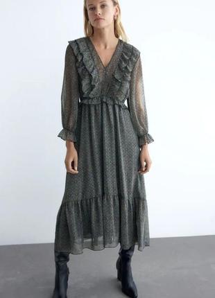 Шикарное платье макси миди zara новая коллекция! нарядное размер s xs 42-44