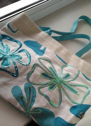 Красивая летняя сумка из натуральной ткани
