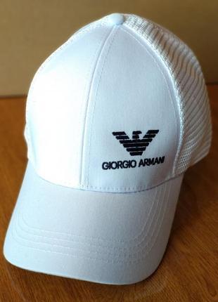 Кепка giorgio armani біла logo вишивка
