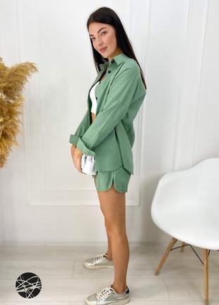 Льняной костюм из рубашки и шорт