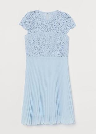 Кружевное платье плиссе h&m