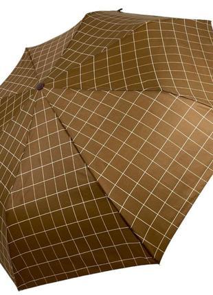 Зонт полуавтомат max на 8 спиц в клетку, светло-коричневый