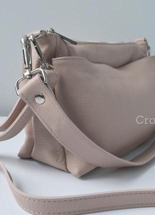 Кожаная сумка кроссбоди 3 молнии италия 29591 пудровая