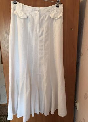 Брендовая летняя белая юбка 100 %хлопок
