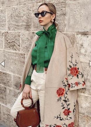 Трендовый цвет! блуза из органзы zara