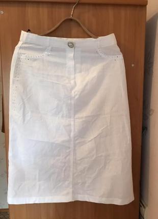 Фирменная летняя  белая льняная юбка 100% лен
